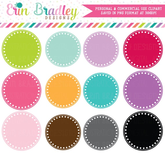 Digital Scrapbooking Clipart Clip Art Polka Dotted Circle