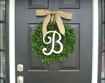 WREATH SALE Monogram Boxwood Wreath, Boxwood Monogram Wreath with Burlap Bow, Housewarming Gift, Wedding Wreath 20 INCH