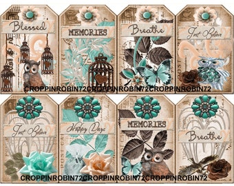 8 Sentiment Postcards Owl-Butterfly Scrapbook Card Embellishments Hang Gift Tags