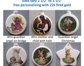 GUARDIAN ANGELS Ceramic Ornament, select from pull down menu, free personalizing in 22k gold, by Nicole