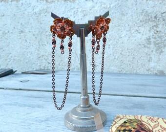 Fleurs Oranges  /Handmade in France  long pendant dangles EARRINGS