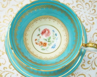 Turquoise Aynsley Teacup, 1930s Turquoise Tea Cup, Aynsley Floral Tea Cup, no 53