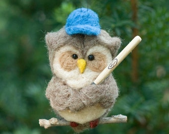 Needle Felted Owl Ornament - Baseball Player