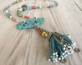 Colorful Bohemian Statement Necklace, Tribal Fusion, Tassel Necklace, Eclectic, Handmade