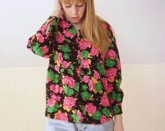 extra 30% off SALE ... Bright Pink Floral POP Button Down LS Blouse Shirt - Vintage 90s - S M