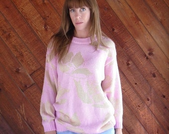 extra 30% off SALE ... Bright Pink and Gold Floral Rose Knit Pullover Sweater - Vintage 80s 90s - MEDIUM M