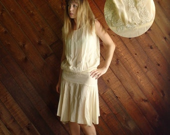 Frosted Cream Vintage 20s 30s Creamy Ivory Silk Crepe Flapper Dress XS S