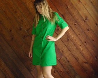 extra 25% off SALE ... Bright Lime Green Mod Mini Dress - Vintage 60s - SMALL