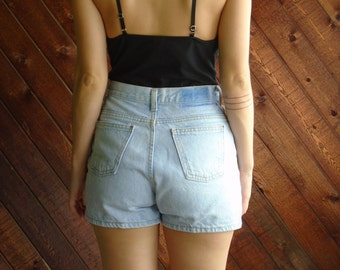 Light Wash High Waist Denim Shorts - Vtg 90s - SMALL