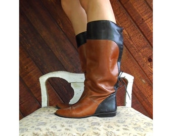 Black Brown Knee High Riding Boots - Vintage 80s - 5 5.5