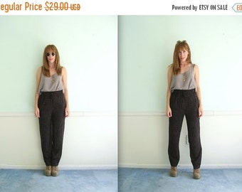 30% off ... 90s High Waist Skinny Leg Trouser Pants in Dark Ditsy Floral Print - Vintage - SMALL MEDIUM S M