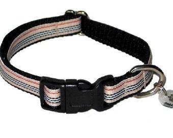 """1/2"""" Tan Striped Small Dog Collar"""