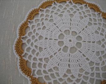 Hand made, crochet, coaster, gold.white, ready, holiday deco