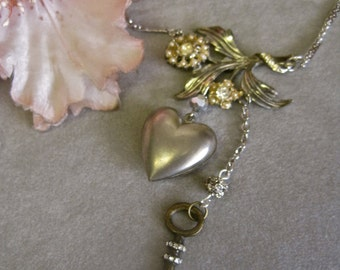 Love Blossoms: Heart Necklace Vintage Assemblage Valentines Day Romantic Flowers Key to Heart Boho Vintage Wedding Bride One of a Kind ooak