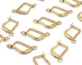 100 Raw Brass Plain Leverback Earring Findings (13x10 Mm) Brsl 90 A0961