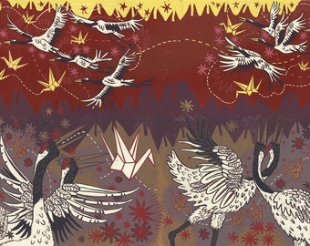 Very Large Woodcut about Japanese Cranes and Lucky Paper Cranes