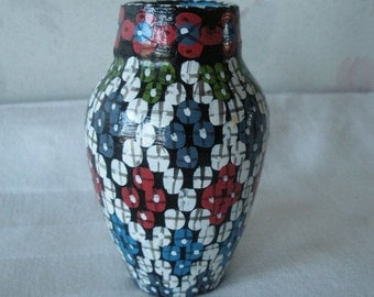 """Vintage MOROCCAN POTTERY Small Vase SIGNED Morocco 3-1/2"""" Miniature Vase From Estate of World Traveler"""