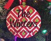 SALE .... Custom monogrammed Christmas ornament - IKat pattern.  Custom family ornament.  Established date ornament.
