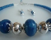 Blue glass silver domed beads necklace earrings set hallmarked OOAK statement