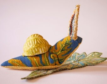Fiber Art Snail with Handmade Ceramic Shell Gastropod Nature Lover Gift Natural History Garden Woodland Wildlife Sculpture
