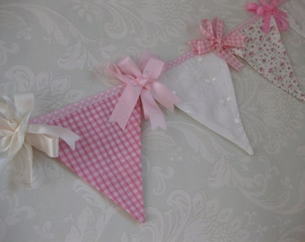 Pretty pink white and floral Mini Bunting with ribbon trims perfect for baby nursery photo prop for shoot made to order