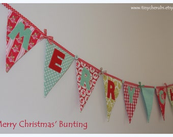 MERRY CHRISTMAS Midi Bunting Banner Decoration Red Green Tilda fabric Made to Order