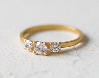 14k Gold Three Stone Solitaire Ring, Triple Diamond Ring, Gold Engagement Ring, Wedding Band, Yellow Gold, Triple Stone Ring, Multiple Stone