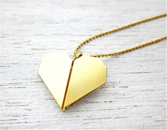 Long Origami Heart Necklace Valentine's Day Gift by ... - photo#4