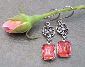 Antique Rose Pink Rhinestone Drop Earrings