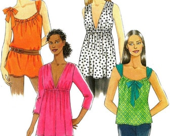 Misses Tunic Top Sewing Pattern, Misses Size 4 – 6 – 8 – 10 – 12 - 14 Uncut Butterick 5216, OOP