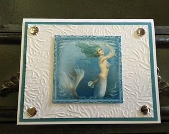 Hand Made Beaitiful Mermaid Note Card