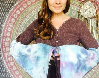 Thermal Print Tie Dye Bell Sleeve Tee Long Tunic Tee Eco Friendly Bell Sleeve Hippie Top Shirt Upcycled Eco Friendly Size Medium