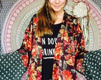 Boho Flower Garden Print Silky Bell Sleeve Bohemian Kimono Jacket Gypsy Stevie Nicks Style One Size