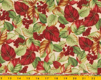 Hoffman Christmas fabric, Enchanted Winter, 43 in. wide by 1/2 yard, Off white background with red berries and red and green leaves Dramatic