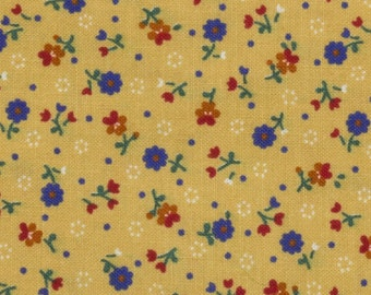 Calico Cotton Fabric, Tan background/Red and Blue flowers/Green leaves/tiny white daisies Sold by the yard, 44 inches wide, quilting