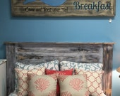 Queen headboard distressed wood handmade bedroom furniture farmhouse cottage rustic bed beach home Beach House Dreams LOCAL PICKUP ONLY
