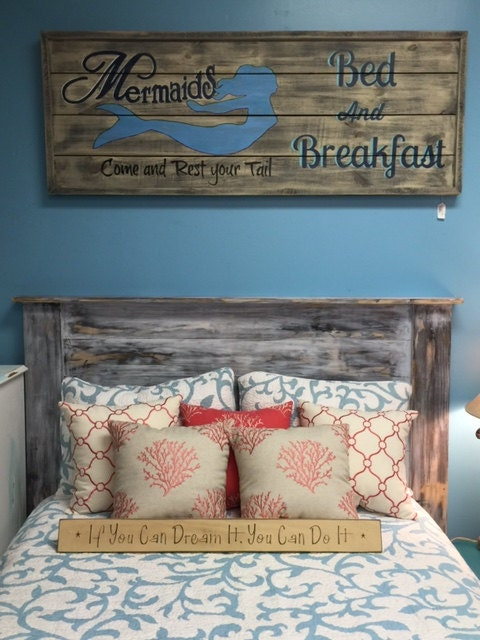 Gray Headboard Barn Wood Bedroom Furniture Queen Bed Farmhouse Cottage Rustic Beach Home