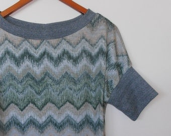 chevron in greens...vintage fabric loose fit ladies t shirt top