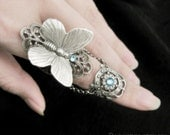 Reserved - Fairy's Touch - Silver Butterfly Armor Ring, Aquamarine Ring, Gothic Jewelry, Fantasy Jewelry, Armour Ring