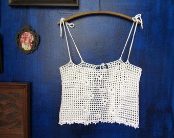 Crochet flowers crop top, White boho chic crochet top, Filet crochet, handmade