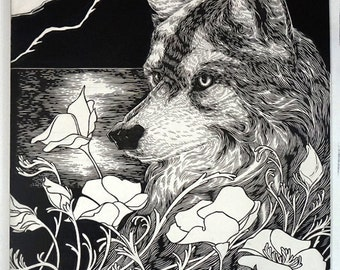 Gray Wolf | Pen and Ink on Clayboard