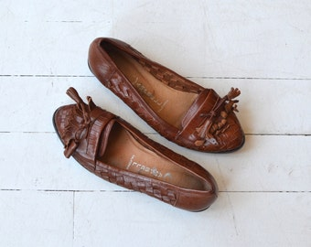 Paxton leather flats | vintage fringed leather flats | woven leather 80s shoes 6
