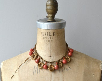 Bettina vintage 1940s necklace | brass 40s choker necklace