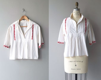 Zheravna tunic | vintage embroidered tunic | white cotton balkan blouse