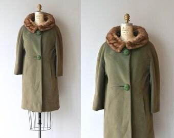 Lapland Moss coat | vintage 1960s coat | mink collar 60s coat