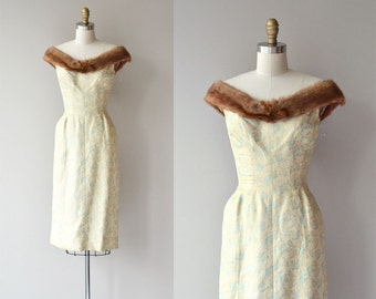 Suzy Perette brocade dress | vintage 1950s dress | mink collar 60s dress