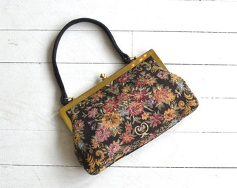 Veronese tapestry bag | vintage 1960s tapestry purse | floral print carpet handbag