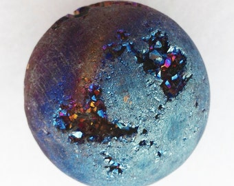 Cobalt Royal Aura Quartz Crystal 30mm Sphere with Druzy - Excellent for Shamans, Soul Mates, and Tax Situations