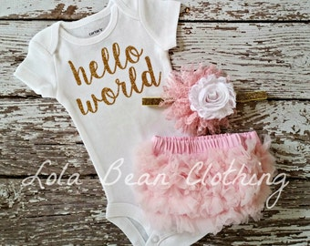 Baby Girl Take Home Outfit Newborn Baby Girl Hello World Bodysuit Bloomers Headband Set Light Pink Gold lolabeanclothing