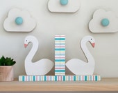 Swan Bookends, Mint Green, Aqua Blue and Coral Pink, Kids Decor, Nursery, eco friendly